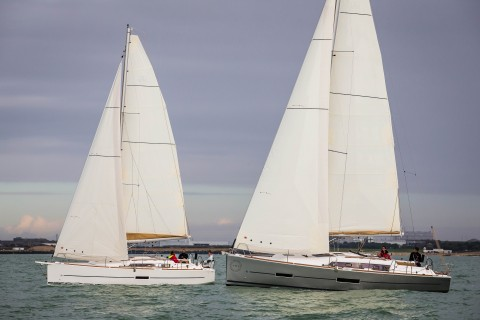 La Rochelle, France, 18 October 2014 Dufour Yachts The new Dufour 350 and 382 sailing together. Ph: Guido Cantini / Dufour/Sea&See.com